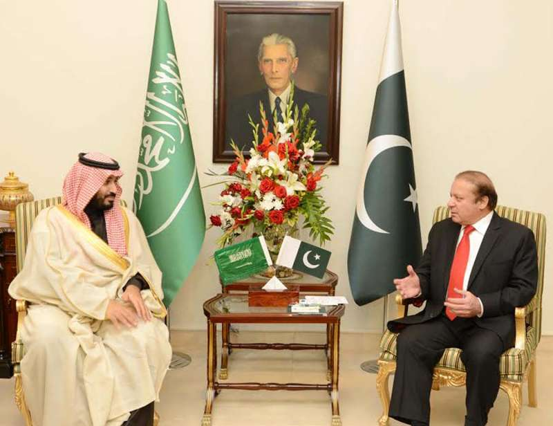 Photo released by the Pakistan Press Information Department (PID) on Jan. 10, 2016 shows Pakistani Prime Minister Nawaz Sharif (R) meeting with Saudi Defence Minister Prince Mohammad bin Salman in Islamabad, capital of Pakistan. Pakistan Prime Minister Nawaz Sharif on Sunday voiced support for the recently launched Saudi Arabia-led anti-terror alliance of Islamic nations in his meeting with visiting Saudi Defence Minister Prince Mohammad bin Salman Al Saud.