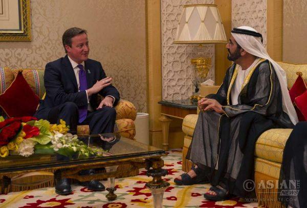 Prime Minister David Cameron with Sheikh Mohamed bib Rashid Al Maktroum