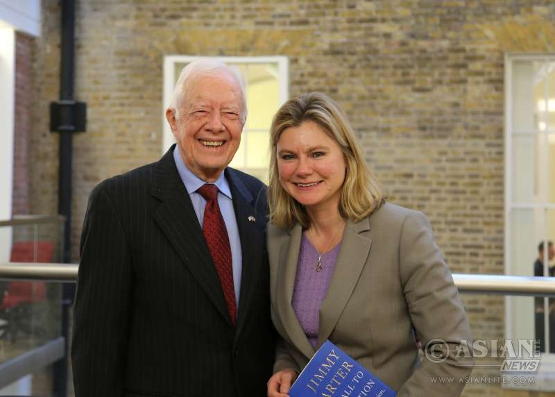 International Development Secretary Justine Greening with former US President and Jimmy Carter to discuss the continuing efforts to eradicate Guinea worm disease. Guinea worm disease is set to become the second human disease in history, after smallpox, to be eradicated.   Picture: Sheena Ariyapala/DFID