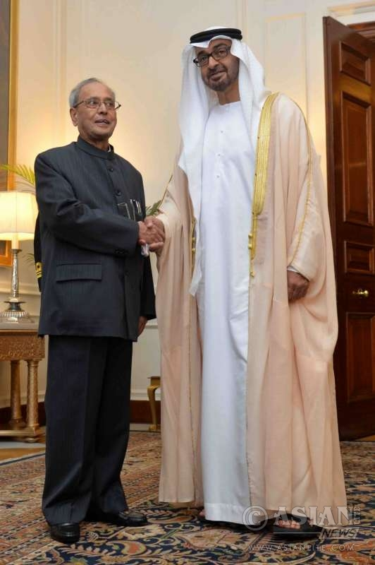 Sheikh Mohammed bin Zayed Al Nahyan with President Pranab Mukherjee