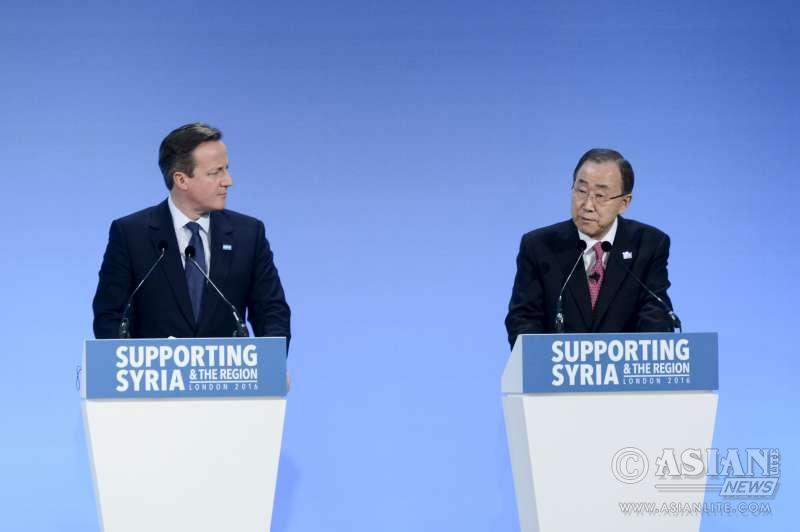 Prime Minister David Cameron and UN chief Bang-Ki Moon at the opening session of Supporting Syria and the region conference in Londin.