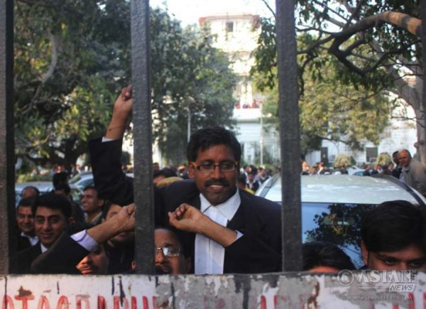 Lawyers protest at Patiala Court