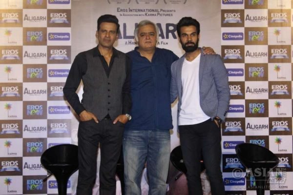 Filmmaker Hansal Mehta, actors *Manoj* Bajpayee and Rajkumar Yadav during the trailer launch of film Aligarh in Mumbai