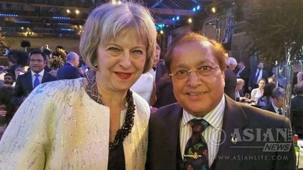 Dr Rami Ranger CBE with Home Secretary Theresa May