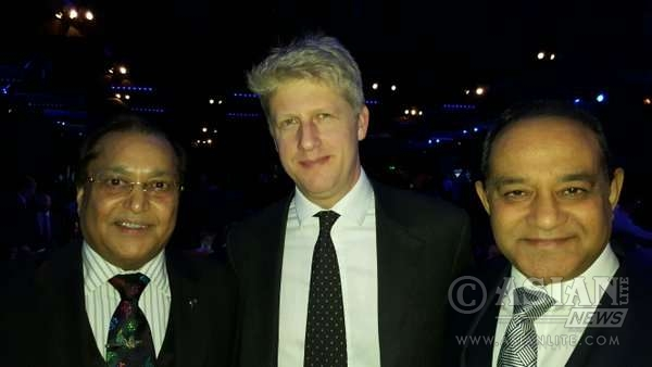 Dr Rami Ranger CBE and Atul Patak with Jo Johnson at the Conservative Black & White party at Montcalm, Brewery