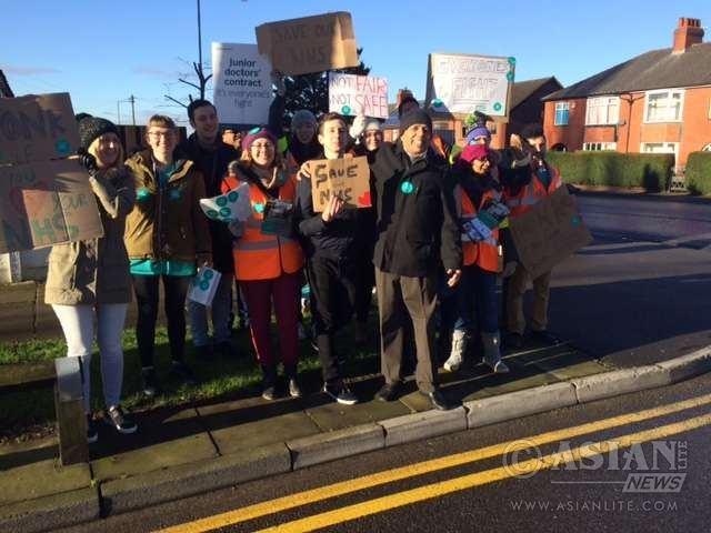 Striking junior doctors and supporters in Manchester