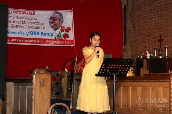 Poetic tributes to Jnanpith winner Prof. ONV Kurup at Coventry, United Kingdom