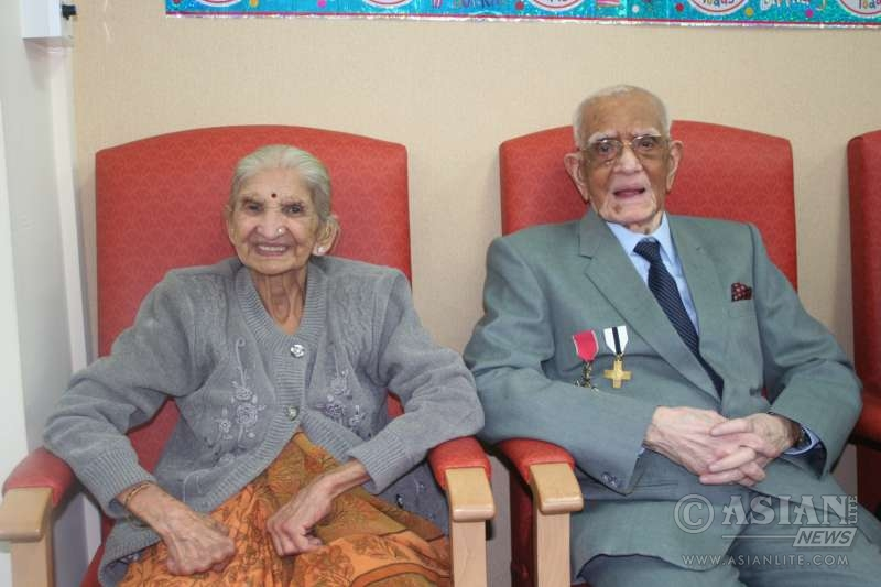 Mr Mamtora and Mrs Mamtora at Indian Senior Citizen's Centre in Manchester