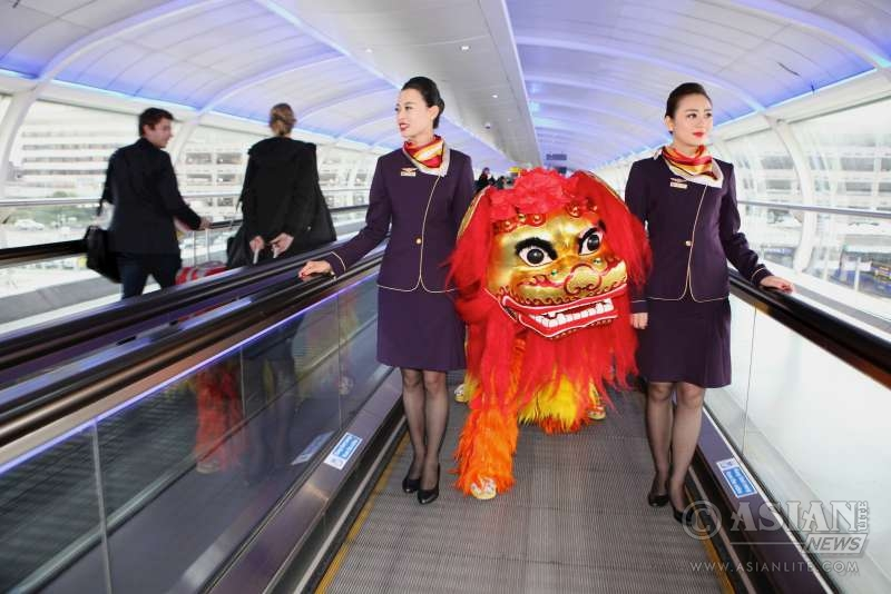 A Chinese lion dance  at the airport to mark Hainan Airlines and Manchester Airport's sponsorship of this year's festival
