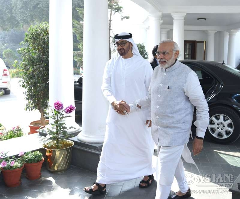 Modi receiving the Crown Prince of Abu Dhabi, His Highness Sheikh Mohammed Bin Zayed Al Nahyan, at 7 RCR, in New Delhi