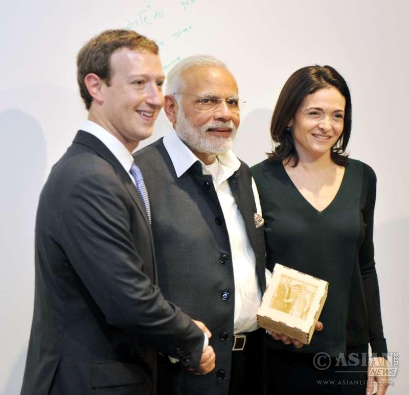 Modi with the Facebook Chairman and CEO, Mr. Mark Zuckerberg, at Facebook HQ, in San Jose, California (File)