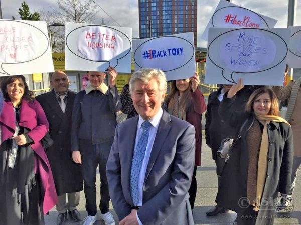 Tony Lloyd launching his campaign  to become Manchester Mayor. The event took place at Media City, Salford