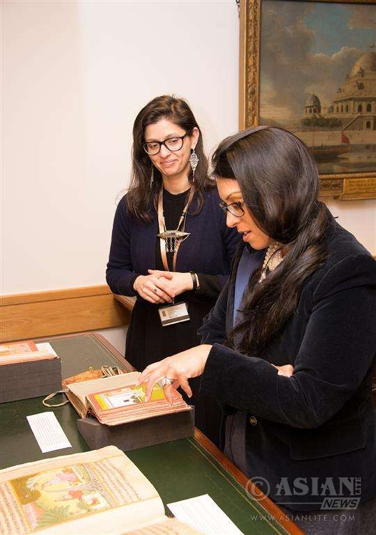 Priti Patel MP at British Library with with Nur Sobers Khan