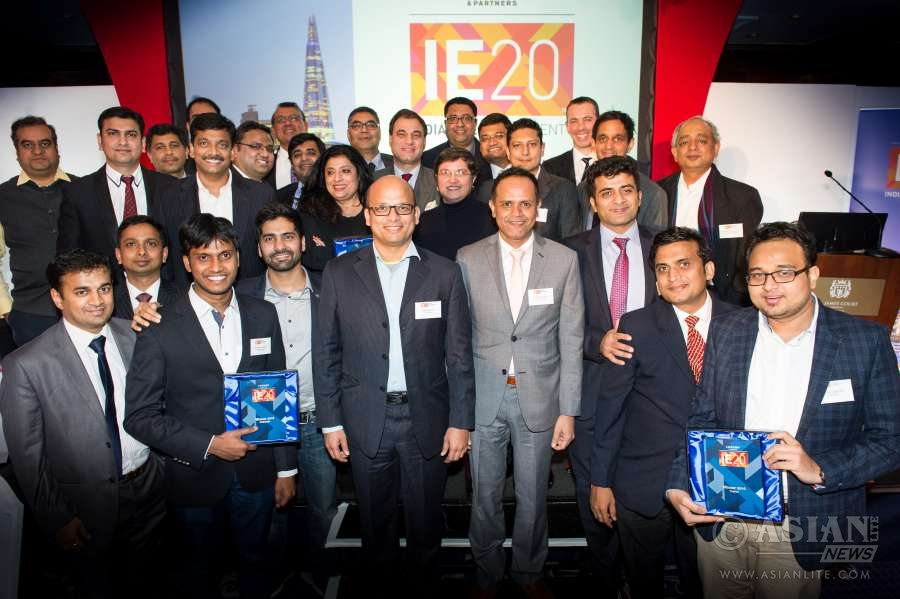 Lord Bilimoria with the winners of the IE20  2016