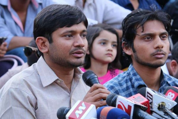 JNUSU president Kanhaiya Kumar addresses media at JNU in New Delhi