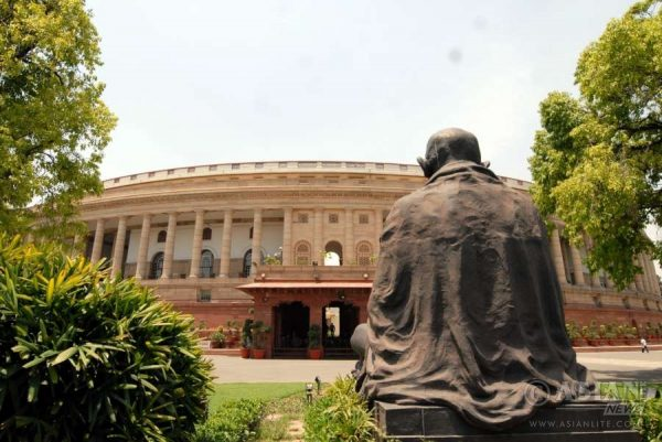Gandhi statue in front of Indian parliament