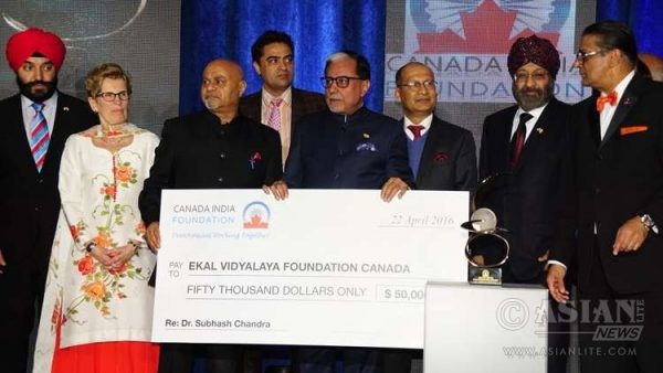 Zee TV and Essel Group chairman Subhash Chandra received the $50,000 Global Indian Award from the Canada-India Foundation in Toronto