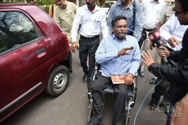 Delhi University professor GN Saibaba, accused of being associated with a front organisation of a banned Maoist outfit after being released from Nagpur Central Jai