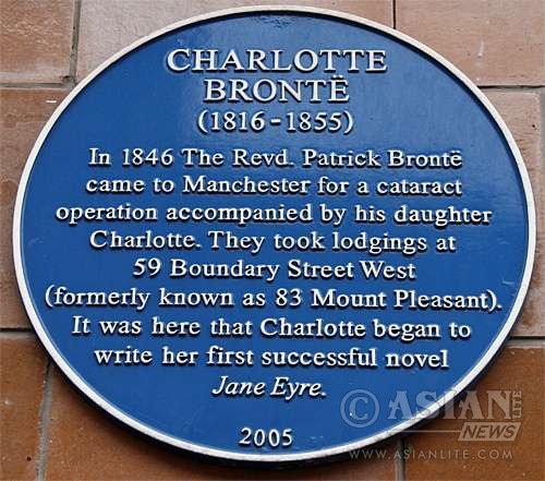 Plaque depicting Bronte's visit to Manchester