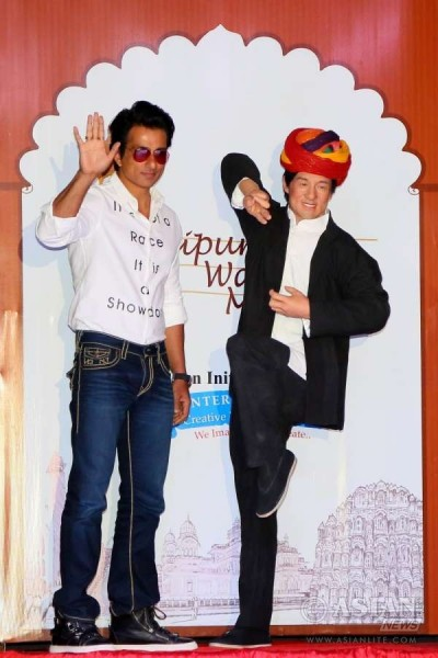 Sonu Sood with Jackie Chan's Wax Statue