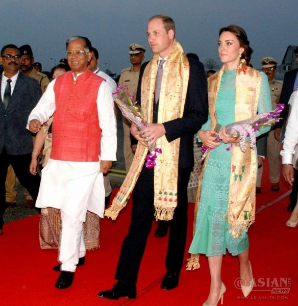 The Duke and Duchess of Cambridge, Prince William and Kate Middleton being felicitated at Diphlu River Lodge in Kaziranga National Park of Assam
