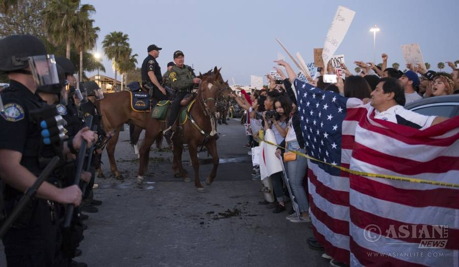 Protesters at California in the US. They are accusing Donald Trump of inciting racial tesnsions