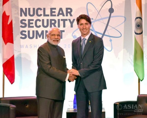 Prime Minister Narendra Modi meets the Canadian Prime Minister Justin Trudeau, on the sidelines of the Nuclear Security Summit 2016, in Washington DC
