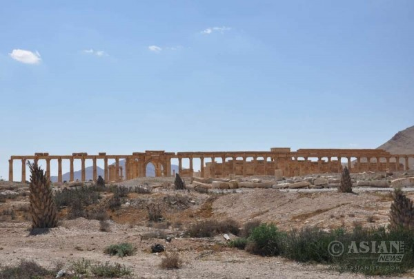 Photo taken on March 31, 2016 shows the partially damaged ancient columns at the National Museum in the city of Palmyra, central Syria. The Syrian army recaptured the city on March 27 following intense battle against the Islamic State (IS) group, which stormed the city last May