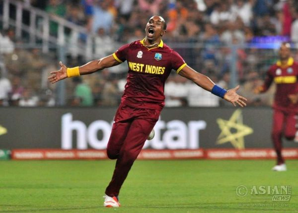 Dwayne Bravo of West Indies celebrates fall of a wicket during the final match of T20 World Cup 2016 between England and West Indies at Eden Gardens in Kolkata