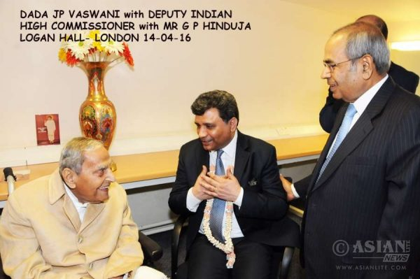 Dada Vaswani with Deputy High Commissioner Virander Paul and Gopi Hinduja