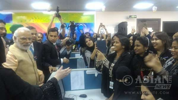 Modi visits TCS' BPO Centre in Riyadh. The all women centre with 85 per cent are Saudis
