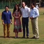 Caption: Royal couple with Sachin Tendulkar-D. Vengsarkar