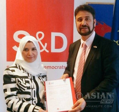 Dr Amal Abdullah Juma Al Qubaisi, speaker of the Federal National Council (FNC) with Mr Afzal Khan MEP, Labour MEP for the North West. Vice-Chair, Security & Defence. Foreign Affairs and Budget Committees