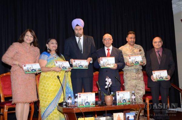 High Commissioner Navtej Singh Sarna, Manju Lodha, Valerie Vaz MP, Virendra Sharma MP, Ashok Virendra Sharma MP, Ashok Kumar Chauhan at the Paramvir launch event at Nehru Centre in London