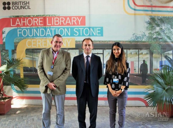 Mr. Thomas Drew CMG, with Mr. Murray Keeler and Maayra Rehman during a visit to the British Council's Library