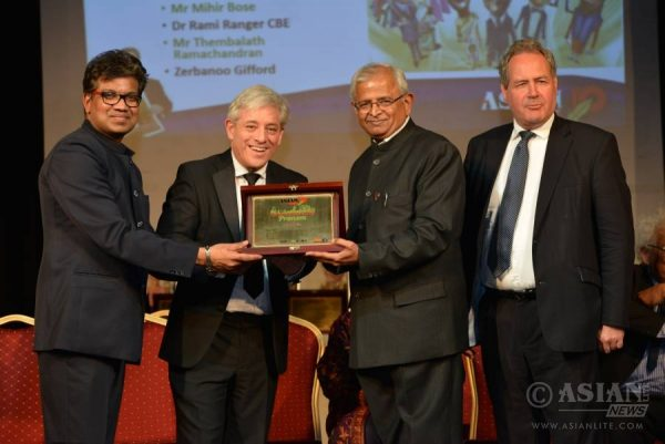 British Parliament Speaker John Bercow presents Asian Lite Pranam Award to Nandaji as Azeez Anasudhin and Bob Blackman MP look on