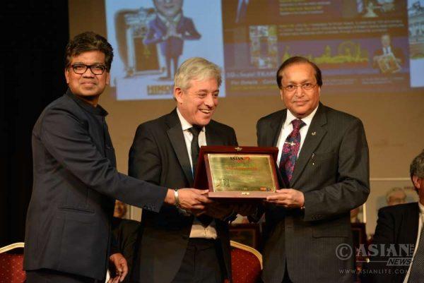 Speaker Rt. Hon.  John Bercow presents Asian Lite's Pranam Awards to Dr rami Ranger CBE at Bhavan in London. Editor Azeez Anasudhin is also seen
