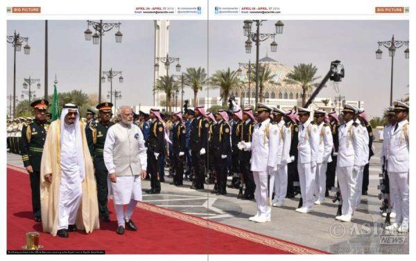 Prime Minister Narendra Modi with Saudi King Salman inspecting a guard of honour at Riyadh