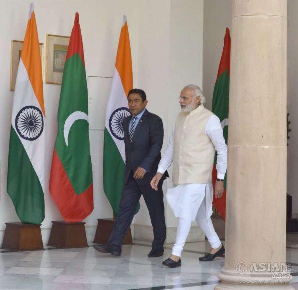 Prime Minister Narendra Modi with President of the Republic of Maldives, Mr. Abdulla Yameen Abdul Gayoom, in New Delhi