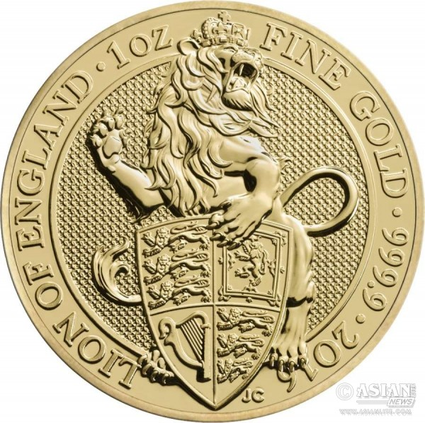 Queen's Beasts Lion 2016 UK One Ounce Gold Bullion Coin