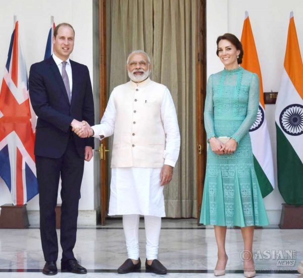 The Prime Minister, Shri Narendra Modi receives the Duke and Duchess of Cambridge Prince William and Kate Middleton, at Hyderabad House, in New Delhi on April 12, 2016.