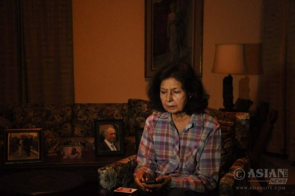 Author Nayantara Sahgal, who has decided to return the prestigious Sahitya Akademi award in solidarity with all Indians who uphold the right to dissent saying the country was facing the greatest threat ever to the right of free speech; at her Dehradun residence.