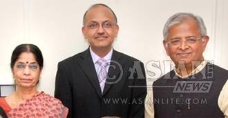 Nandaji with Bhavan colleagues Parvati Nair and Bihari Khama