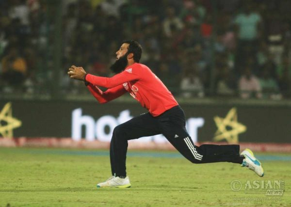 English player Moeen Muni Ali taking a catch