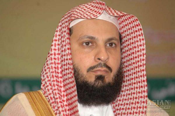 Sheikh Abdur-Rahman Al-Sudais, Imam, Ka'ba, Mecca, Saudi Arabia addresses during a press conference in Patna