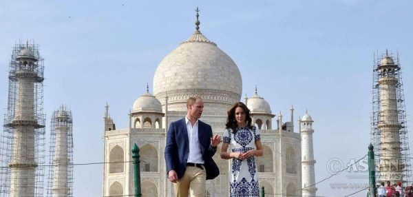 he Duke and Duchess of Cambridge, Prince William and Kate Middleton visit the Taj Mahal in Agra