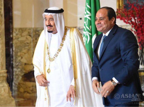 Saudi Ruler King Salman bin Abdul Aziz with Egyptian President Abdel-Fattah el-Sissi