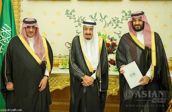 Crown Prince Mohammed bin Nayef with King Salaman and Deputy Crown Prince Mohamed Bin Salman
