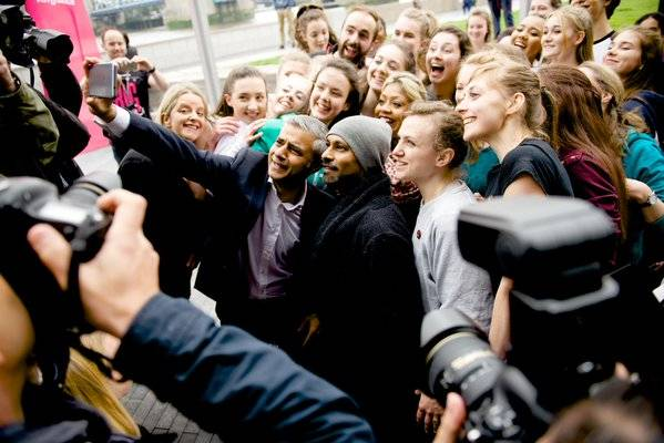 SELFIE WITH THE MAYOR: London Mayor Sadiq with ace dancer Akram Khan and team. Sadiq wrote: Fantastic to see @AkramKhanLive's #BigDance choreography in action. Ensuring all Londoners have access to arts & creative industries is a top priority