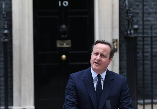 Prime Minister David Cameron addressing the media at No 10 Downing Street